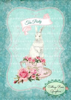 Tea Party Bunny pink roses digtial by CottageRoseGraphics on Etsy