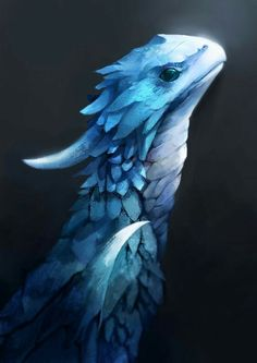 Little blue dragon concept art illustration