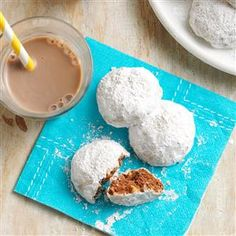Chocolate Mexican Wedding Cakes Recipe -These spiced balls are a yummy twist on a traditional favorite. Sometimes I add mini chocolate chips to the dough and, after baking, dip the cooled cookies in melted almond bark. —Joanne Valkema, Freeport, Illinois