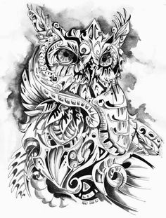 Psychedelic Trippy Owl - anyone know the artist so I can give credit? Owl Skull Tattoos, Tribal Tattoos, Owl Tattoo Design, Tattoo Designs, Tattoo Ideas, Deviantart Tattoo, Owl Pictures, Feather Art, Custom Tattoo