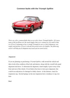 Common faults with the triumph spitfire