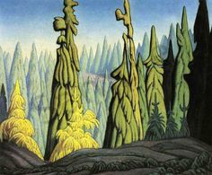 Quality print by Group Of Seven artist Lawren Harris - Trees In The North; Made In Canada. Group Of Seven Artists, Group Of Seven Paintings, Tom Thomson, Emily Carr, Canadian Painters, Canadian Artists, Landscape Art, Landscape Paintings, Tree Art