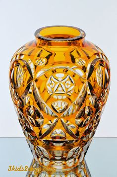 Vintage Bohemian German Amber Gold Cut to Clear Crystal Vase