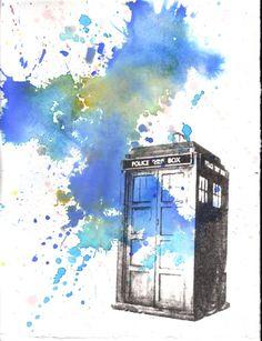 TARDIS watercolor. This looks so cool :D
