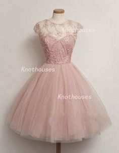 Cap sleeves Sheer beaded Pink Tulle Pageant dress/ Girl Graduation Dress  This dress can be custom made, both size and color can be custom made. Custom size and color made will charge for no extra. If you need a custom dress, please send us messages for your detail requirements.  For custom size,