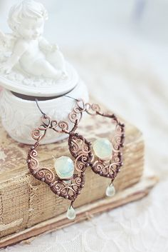 Bridal wire wrapped filigree copper pale yellow by SabiKrabi, $58.00