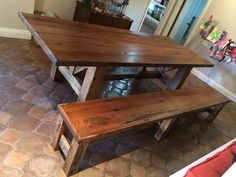 Reclaimed American Chestnut/Oak Table/Bench