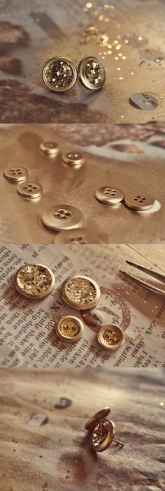Glittered buttons become jewelry