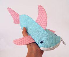 Shark Pencil Case  Fun Zipper Pouch  Unique Kids by minnebites, $35.00