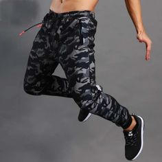 Men Gym Slim Trousers Zipper Joggers Pants Workout Track Pants Comfortable Sweatpants with Pockets by Hunzed