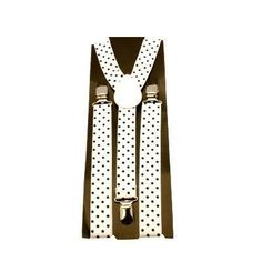 White black polka dot clip on braces / suspenders mens Morning Suits, Braces Suspenders, Dinner Suit, Formal Wear, Knot, Men's Fashion, Polka Dots, Retro, Board