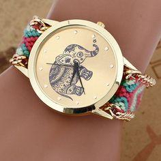 HOT Sell New Brand Handmade Braided Elephant Friendship Bracelet Watch GENEVA Watches Women Quarzt Watches relogio feminino
