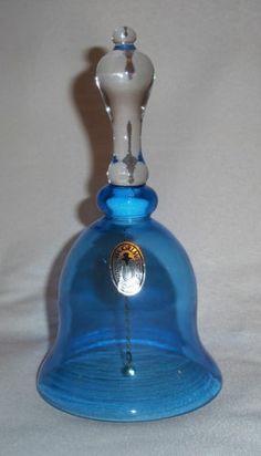 NWT Vintage Pilgrim Glass Hand Blown Blue Dinner Bell Excellent