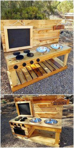 , This is a rather innovative creation of the wood pallet that will introduce you to the Kids Mud Kitchen service. , Incredible ideas to recycle and rebuild old wooden pallets Diy Mud Kitchen, Mud Kitchen For Kids, Outdoor Play Kitchen, Wood Projects For Kids, Diy Pallet Projects, Play Kitchens, Wooden Pallets, Wooden Diy, Pallet Wood