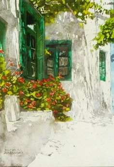 """green windows n geraniums mykonos 18"""" x 14""""  micheal zarowsky / watercolour on arches paper / private collection"""