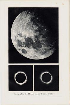1898 Original Antique moon print by TwoCatsAntiquePrints on Etsy