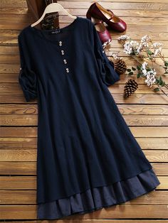 Layered adjustable sleeve solid color o neck vintage dresses 25 women s sweaters blouses for you this winter outfit fashion casualoutfit fashiontrends dress casually casual outfits for women Women's Dresses, Stylish Dresses, Simple Dresses, Casual Dresses, Fashion Dresses, Wedding Dresses, Summer Dresses, Vintage Dresses Online, Vintage Style Dresses