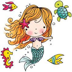 Penny Black Rubber Stamp Mimi The Mermaid Cartoon Drawings, Cute Drawings, Rubber Stamp Online, Cute Cartoon Girl, Black Mermaid, Mermaid Birthday, Tampons, Digi Stamps, Painted Rocks