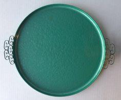 Vintage Mid Century Hollywood Regency Teal Moire Glazed Kyes Enamel tray
