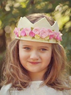 Felt Rose Crown Princess Crown Pink Cream by pixieandpenelope