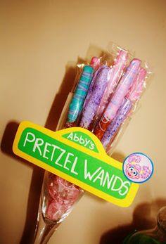 Abby's Pretzel Wands - super cute idea for a Sesame Street Birthday Party
