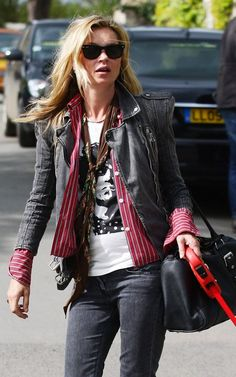 Kate Moss wearing Balmain denim biker jacket.