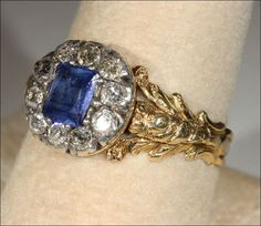 Early Victorian Sapphire and Diamond Cluster Ring, Foil Backed 18k from vsterling on Ruby Lane
