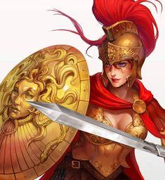 f Fighter Plate Armor Helm Magic Medusa Shield portrait Greek Warrior, Fantasy Warrior, Fantasy Women, Fantasy Girl, Character Portraits, Character Art, Greek Mythology Art, Greek Pantheon, Armadura Medieval