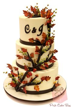 Monogrammed Autumn Wedding Cake by Pink Cake Box