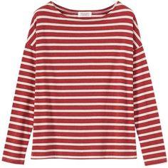 Toast Stripe Breton T-Shirt, Red Melange/White Pebble ($74) ❤ liked on Polyvore featuring tops, t-shirts, shirts, nautical t shirts, striped long sleeve shirt, red striped shirt, long sleeve tees and summer t shirts