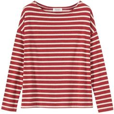 Toast Stripe Breton T-Shirt, Red Melange/White Pebble ($74) ❤ liked on Polyvore featuring tops, t-shirts, shirts, long sleeve tops, red t shirt, striped tee, white tee and white long sleeve tee