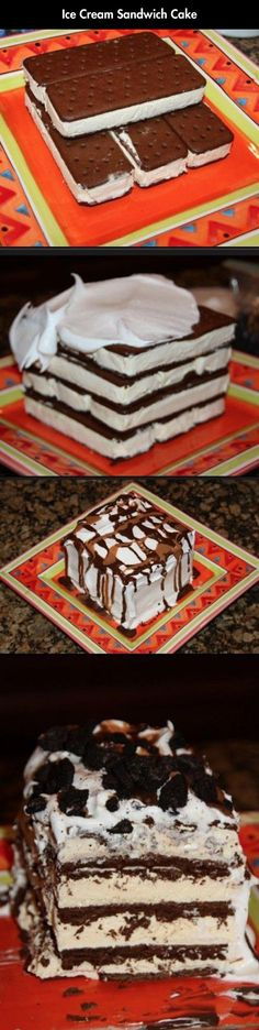 Cream Sandwich Cake NO BAKING REQD! Ice Cream Sandwich cake that is to die for! Ive had this and it is . absolutely A-maz-ing !NO BAKING REQD! Ice Cream Sandwich cake that is to die for! Ive had this and it is . absolutely A-maz-ing ! Köstliche Desserts, Frozen Desserts, Frozen Treats, Think Food, Love Food, Do It Yourself Food, Quick Dessert Recipes, Fun Recipes, Healthy Recipes
