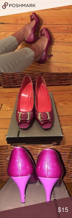 Fuchsia Patent leather Peep toe sandals 3inch fuschia Patent leather peep toe pumps.. super comfy  size 6.5. Heel is worn a little but other than that entire shoe in good shape Franco Carolli Shoes Heels