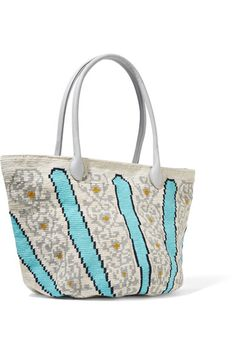 Multicolored crocheted cotton, sky-blue leather (Calf) Zip fastening along top Comes with dust bag Weighs approximately 0.4lbs/ 0.2kg