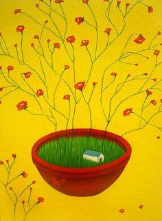 나쁜꽃밭 Bad a Flower Garden Naive Art, Figure Drawing, Background Patterns, Artists, Drawings, Garden, Illustration, Painting, Portraits