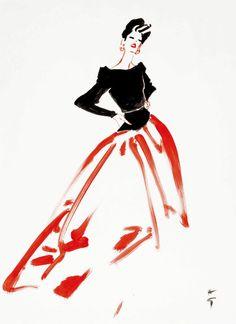 Rene Gruau, Grande Robe de Soiree - Christie's - Cover illustration for Figaro magazine - 1980