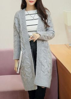Open Front Grey Long Sleeve Cardigan on sale only US$28.66 now ...