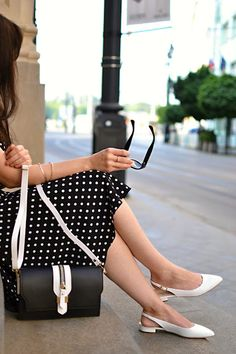 BLACK AND WHITE_Katharine-fashion is beautiful_Katarína Jakubčová_Polka dots_Fashion blogger fashionisbeautiful #chic #skirt #inspiration #dots #polka #trend #summer #black&white