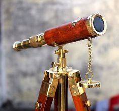 Handmade Solid Brass Spyglass Telescope With Wooden Adjustable Tripod Home Decor