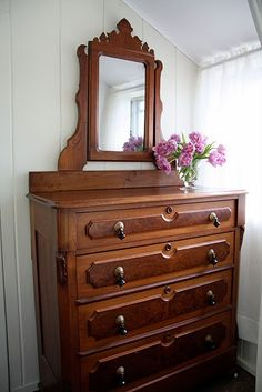 Antiques    i have a similar dresser without the mirror, love the shape