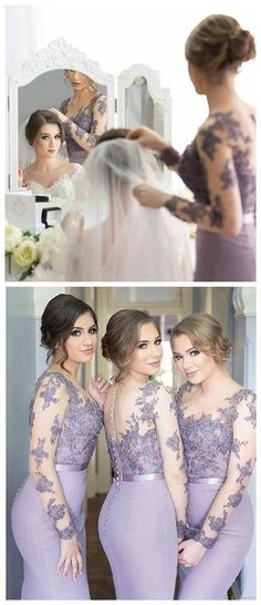 Long Sleeves Bridesmaid Dress,Mermaid Jewel Prom Dress,333