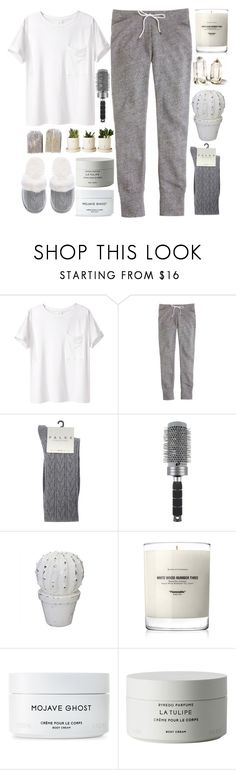 """""""Friday Night In"""" by prettyorchid22 ❤ liked on Polyvore featuring AR SRPLS, J.Crew, Falke, T3, Baxter of California, Byredo and Victoria's Secret"""