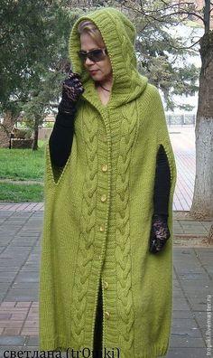 """Купить пальто-пончо """" Весна"""" - оливковый, пончо вязаное, пальто демисезонное, ручное вязание"""