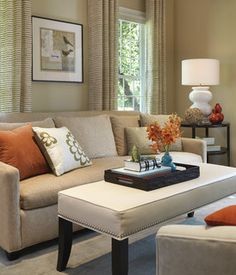 Living room color schemes tan couch modern living room interior design ideas tan couches green orange and khaki home office ideas diy Narrow Living Room, Fall Living Room, Living Room Orange, Elegant Living Room, Beautiful Living Rooms, Living Room Colors, Living Room Modern, Home Interior, Interior Design Living Room