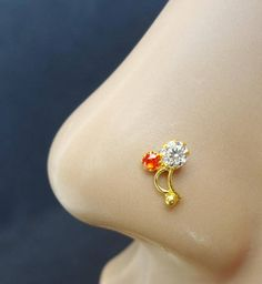 Indian Nose Jewelry Handmad Strong Silver Nose Studs With Semi Nose Pin Indian, Indian Nose Ring, Diamond Nose Stud, Gold Nose Stud, Nose Ring Designs, American Diamond Jewellery, Nose Jewelry, Nose Hoop, Bridal Jewelry