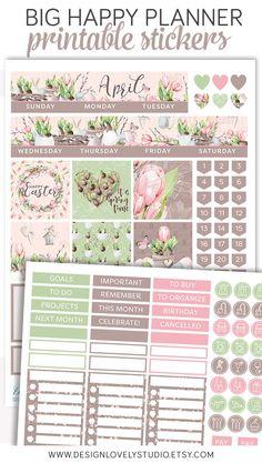 Big Happy Planner April Printable Planner Stickers #printables #spring #bighappyplanner #organization