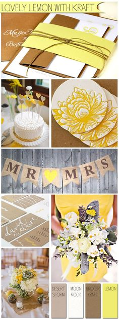 Kraft and yellow spring wedding ideas - invitations made with Neenah Environment recycled kraft card stock