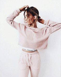 Pink cropped sweatshirt & Calvin Klein crop top.