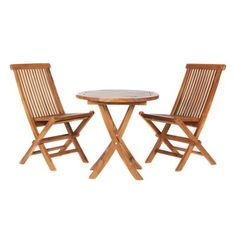 All Things Cedar TS26-Set 3-Piece Teak Outdoor Bistro Set