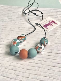 Pandora Jewelry OFF! Statement polymer clay necklace blue and orange beaded necklace modern chunky necklace clay jewelry gift Polymer Clay Necklace, Polymer Clay Earrings, Handmade Necklaces, Handmade Jewelry, Diamond Cross Necklaces, Anniversary Jewelry, Valentines Jewelry, Making Ideas, Stud Earrings